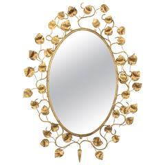 Monumental Spanish 1960s Hand-Hammered Gilt Iron Foliate Oval Mirror