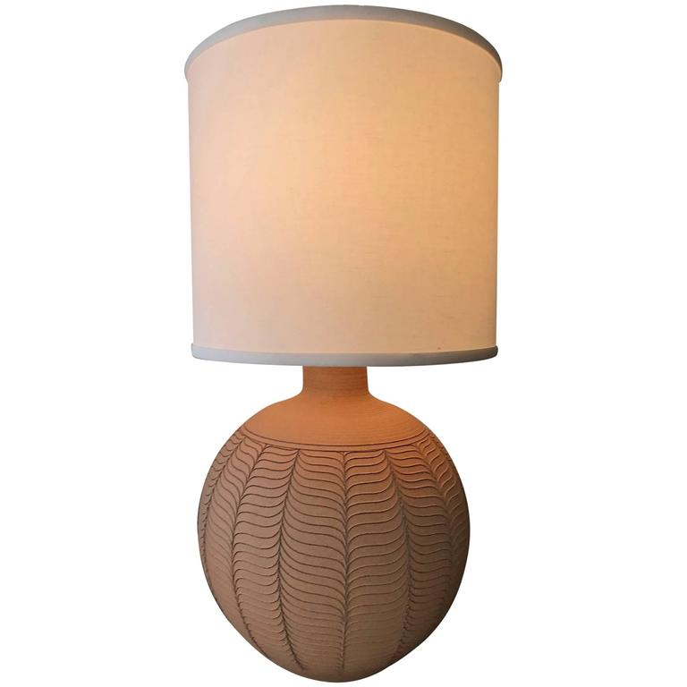 Unglazed Ceramic Studio Pottery Lamp