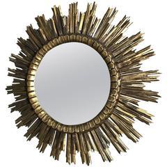 Vintage Mid-Century Italian Sunburst Hand-Carved Wood Gilded Mirror