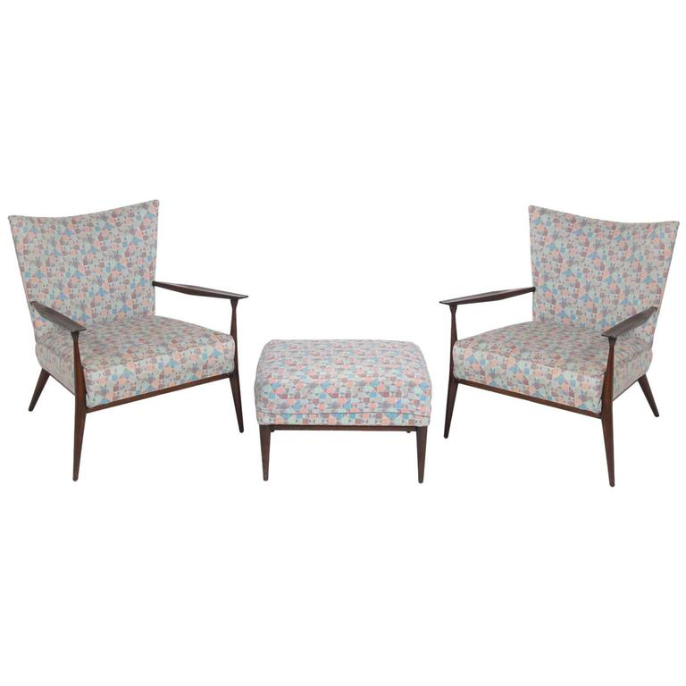 Pair of Curvaceous Lounge Chairs and Ottoman by Paul McCobb