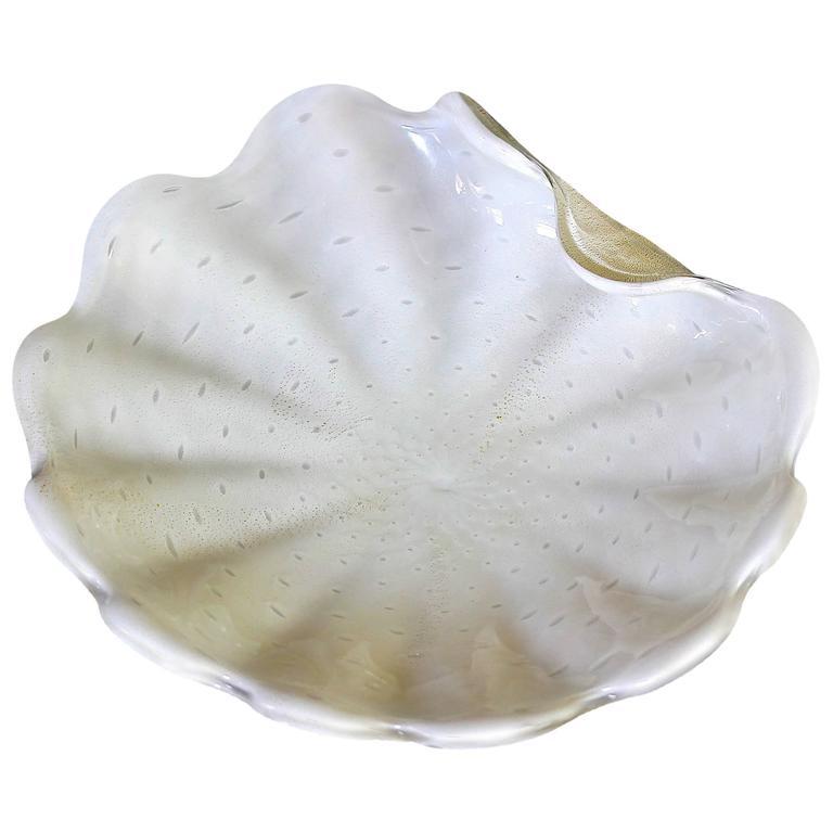 Large Murano Barbini White Gold Bubbles Centerpiece Bowl For Sale