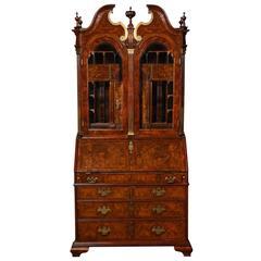 Baroque Period Burl Walnut Bureau Bookcase