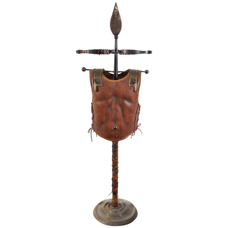 Renaissance Revival Tole Peinte Armor Plate on Stand 1