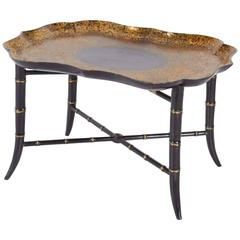 Victorian Black Lacquered and Parcel-Gilt Papier Mache Tray