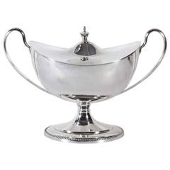 Silver Plate Two Handle Loving or Trophy Cup with Lid