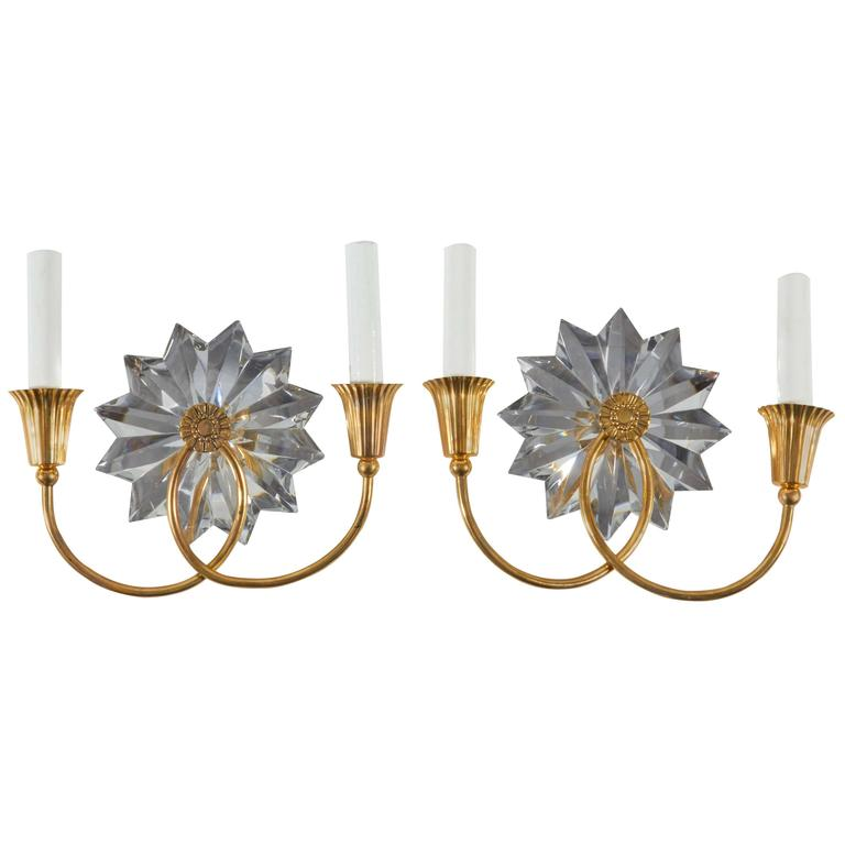 Brass Crystal Wall Sconces : Pair of Brass and Crystal Wall Sconces For Sale at 1stdibs
