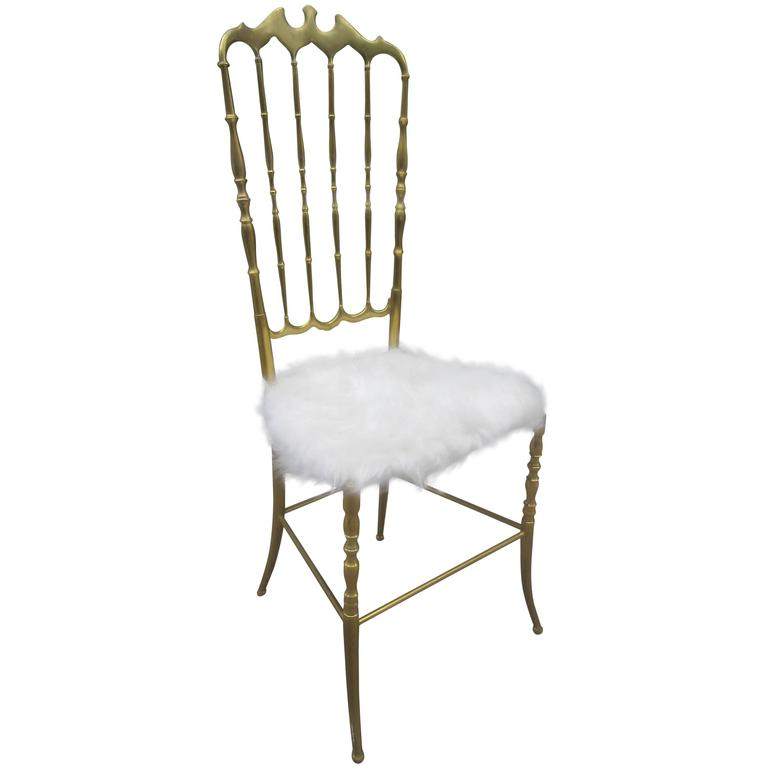 Brass Italian Chiavaro High Back Chair 1