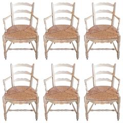 Set of Six French 19th Century Painted Provencal Armchairs with Rush Seats.