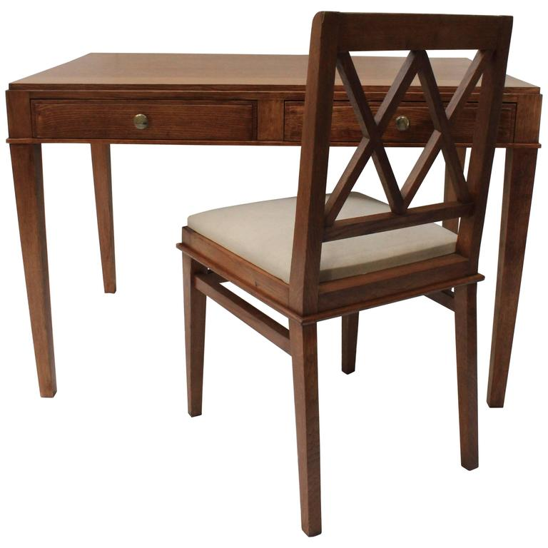 Jacques Adnet Oak Desk and Chair