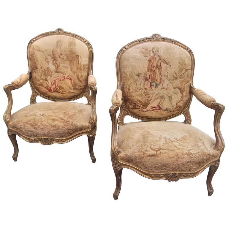 Louis xv style fauteuil 39 armchair 39 in tapestry after boucher four seasons pair for sale at 1stdibs - Fauteuil louis xv moderne ...