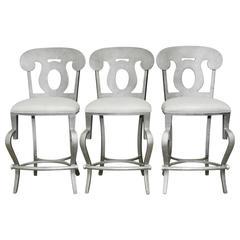 Trio of Modern Biedermeier Style Metal Barstools