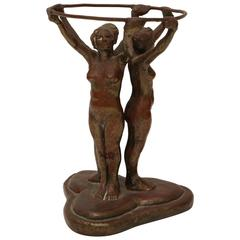 German Art Deco Bronze Sculpture, Nude Female Acrobats by E.R. Hirschman, 1929