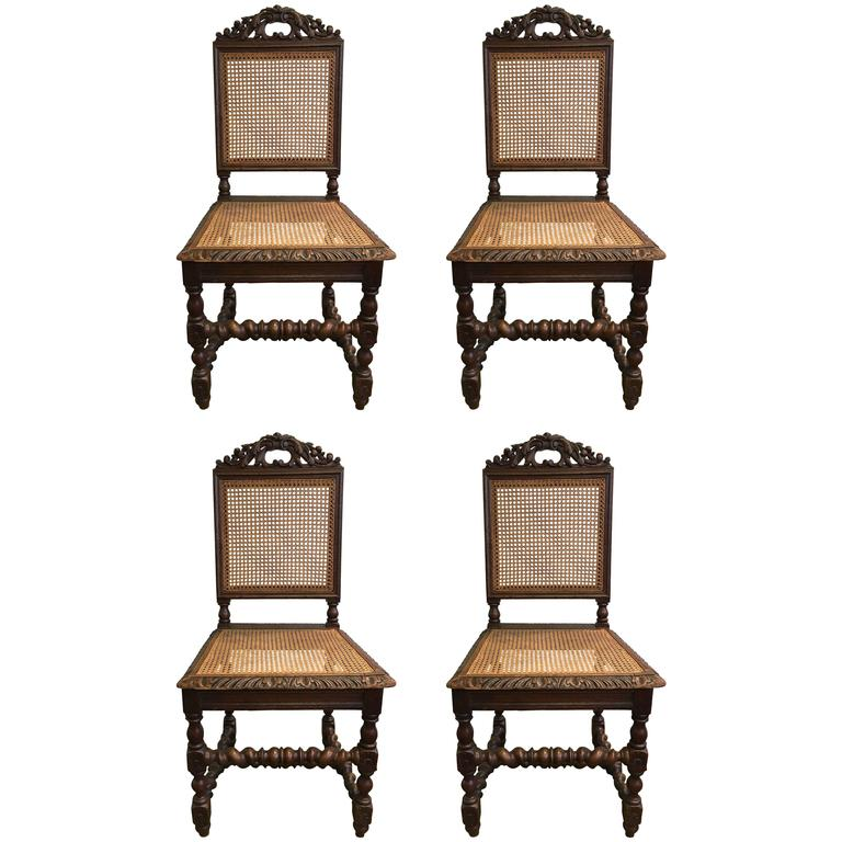 Set of Four 19th Century French Carved Dining Chairs For Sale