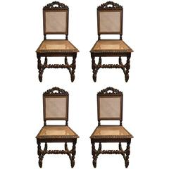 Set of Four 19th Century French Carved Dining Chairs
