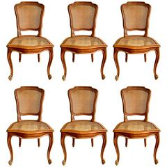 Set of Six 19th Century French Dining Chairs in Style of Louis XV