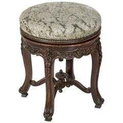 19th Century Hand Carved Walnut Louis XV Style Piano Stool with Swivel Seat
