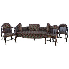 19th Century Chippendale Style Set of Settee and Four Armchairs
