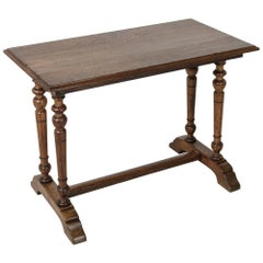 20th Century French Oak Bistro Pub Table Desk with Double Columns and Trestle