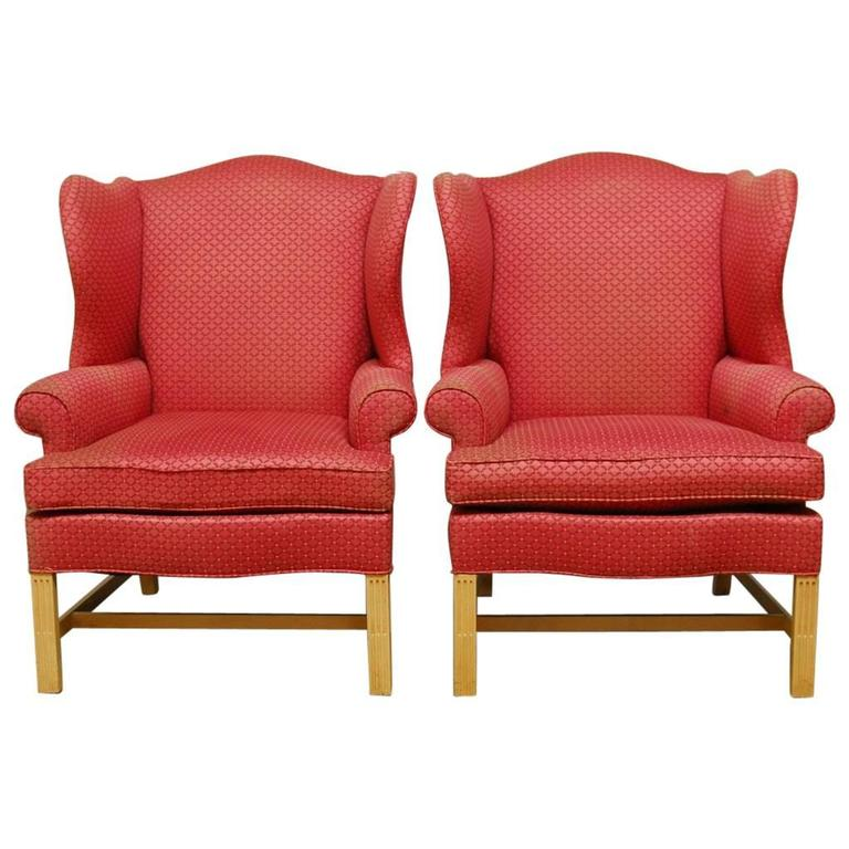 Pair Of Chippendale Design Wing Chairs By Drexel Heritage At