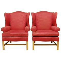 Pair of Chippendale Design Wing Chairs by Drexel Heritage