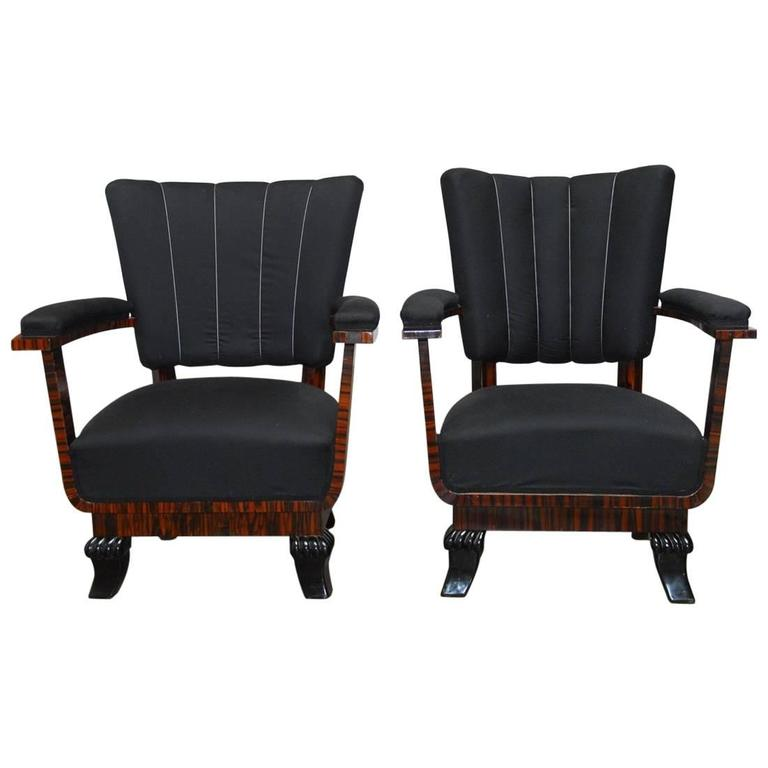 Pair of French Art Deco Macassar Club Chairs For Sale