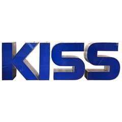 "Four-Piece Set of Extra Large Vintage Signage Letters Spelling ""KISS"""