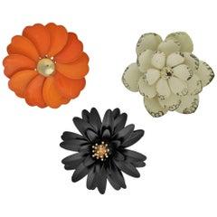Vintage Trio 1960s Black White Orange Enamel Flower Brooches One Crown Trifari
