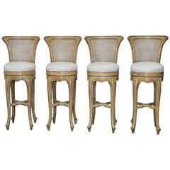 Set of Four Swedish Gustavian Style Petite Barstools