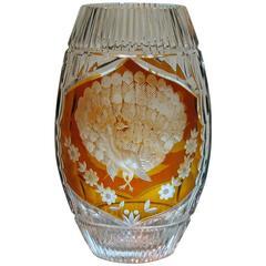 Amber Flashed Wheel Cut Lead Crystal, Art Deco Vase, Josephine Hutte