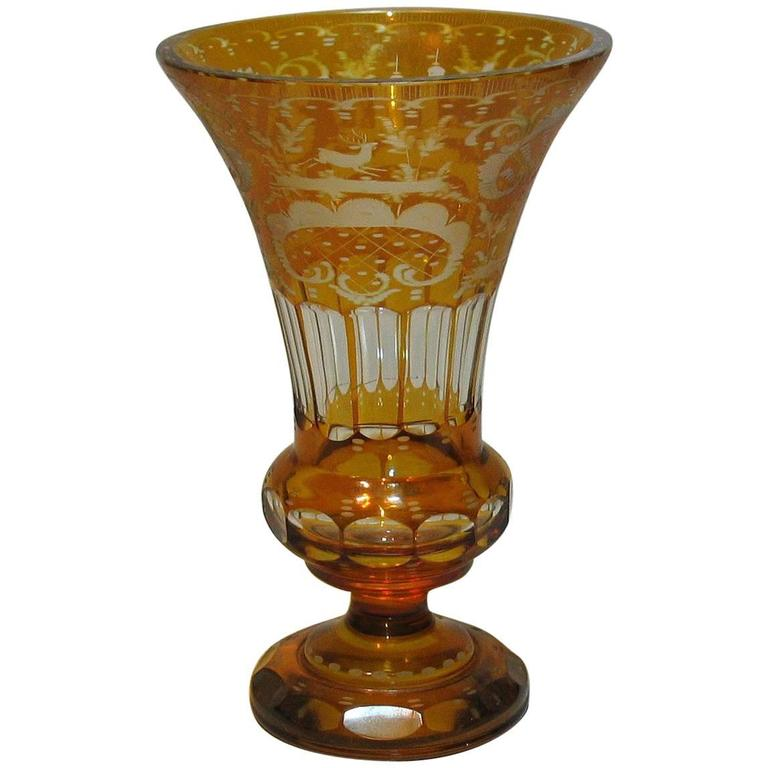Antique Bohemian Amber Flashed Cut Glass Vase For Sale At 1stdibs