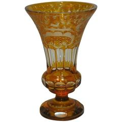 Antique Bohemian Amber Flashed Cut-Glass Vase
