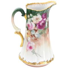T&V France Floral Vase Shape Flower Painted Porcelain Pitcher