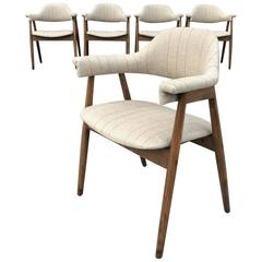 Mid-Century Modern Upholstered Compass Dining Armchairs
