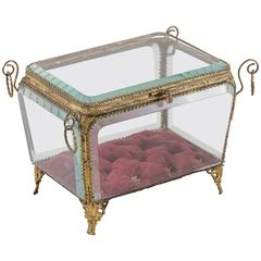 19th Century French Napoleon III Period Cut Crystal and Brass Jewelry Box