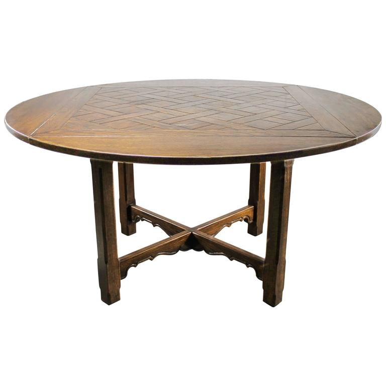 Drop Leaf Oak Square Round Pub Table W Parquet Top