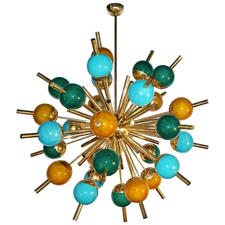 1980s Italian Modern Blue Green Gold Murano Glass and Brass ...