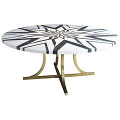 Hollywood Regency inlaid Marble Top Dining Table