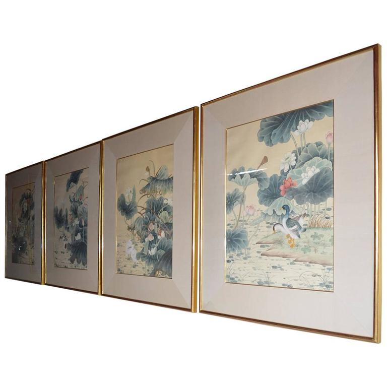 Set of Four Chinese Water Color Paintings