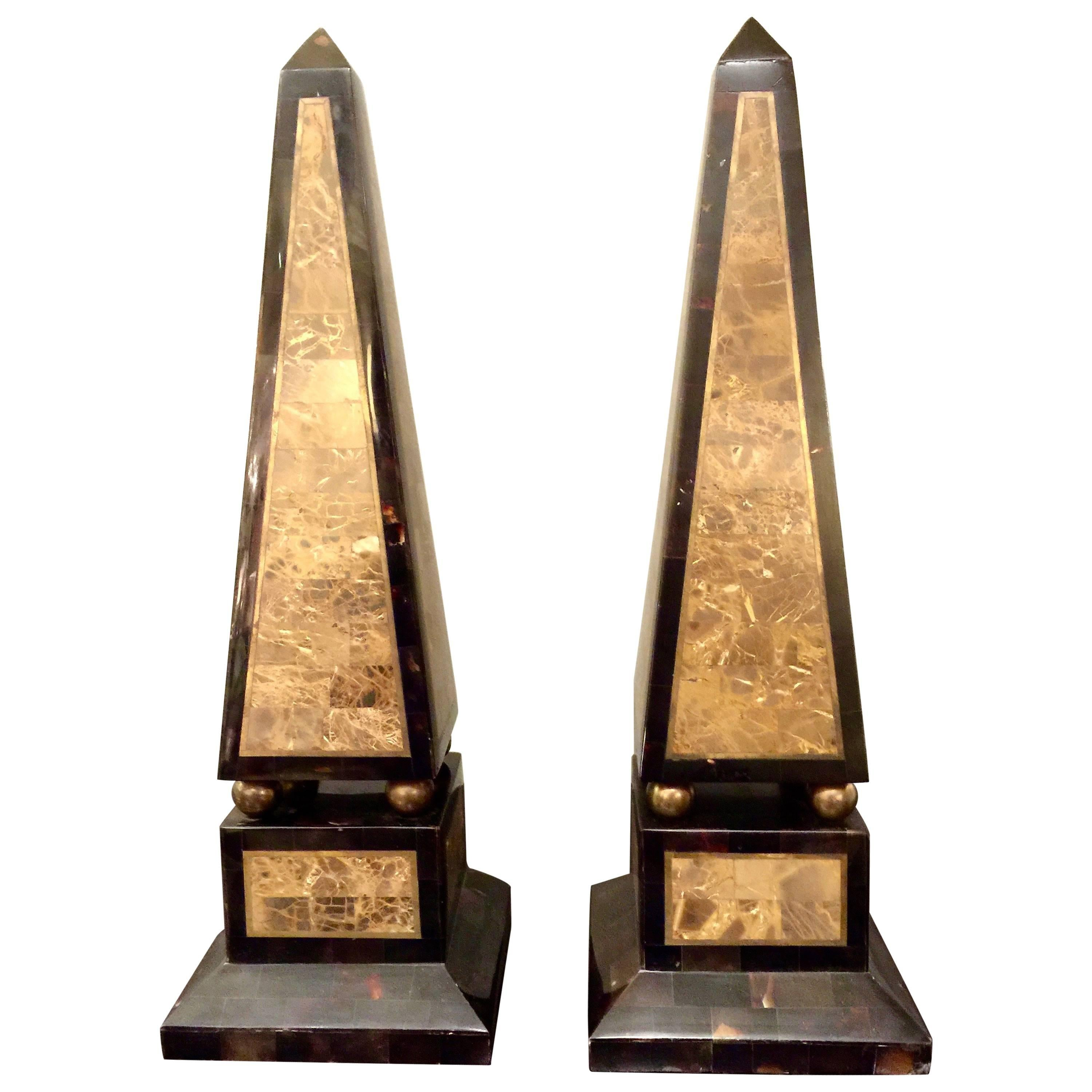 Pair of Maitland-Smith Tessellated Shell and Marble Obelisks