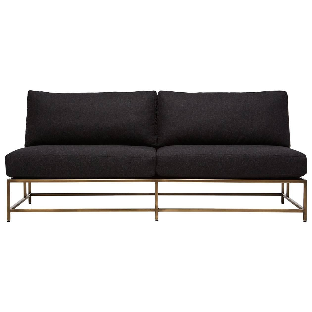 Black Wool and Antique Brass Loveseat