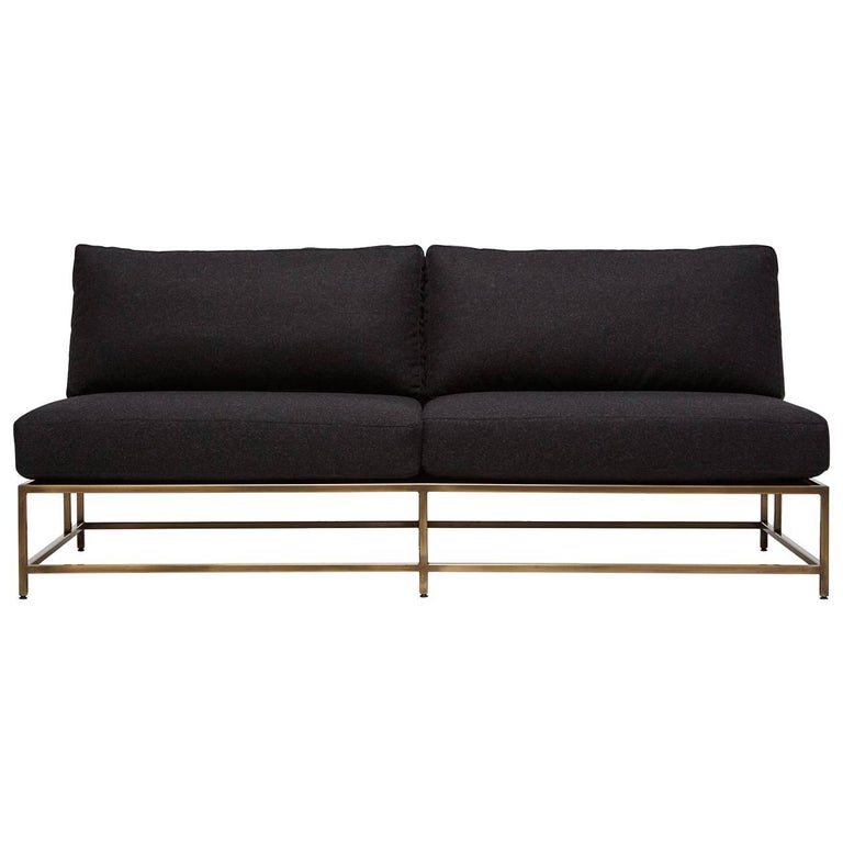 Black Wool and Antique Brass Loveseat For Sale