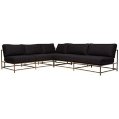"Black Wool & Antique Brass ""L"" Sectional"