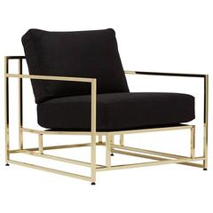 Black Wool and Polished Brass Armchair