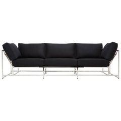Black Wool and Polished Nickel Sofa