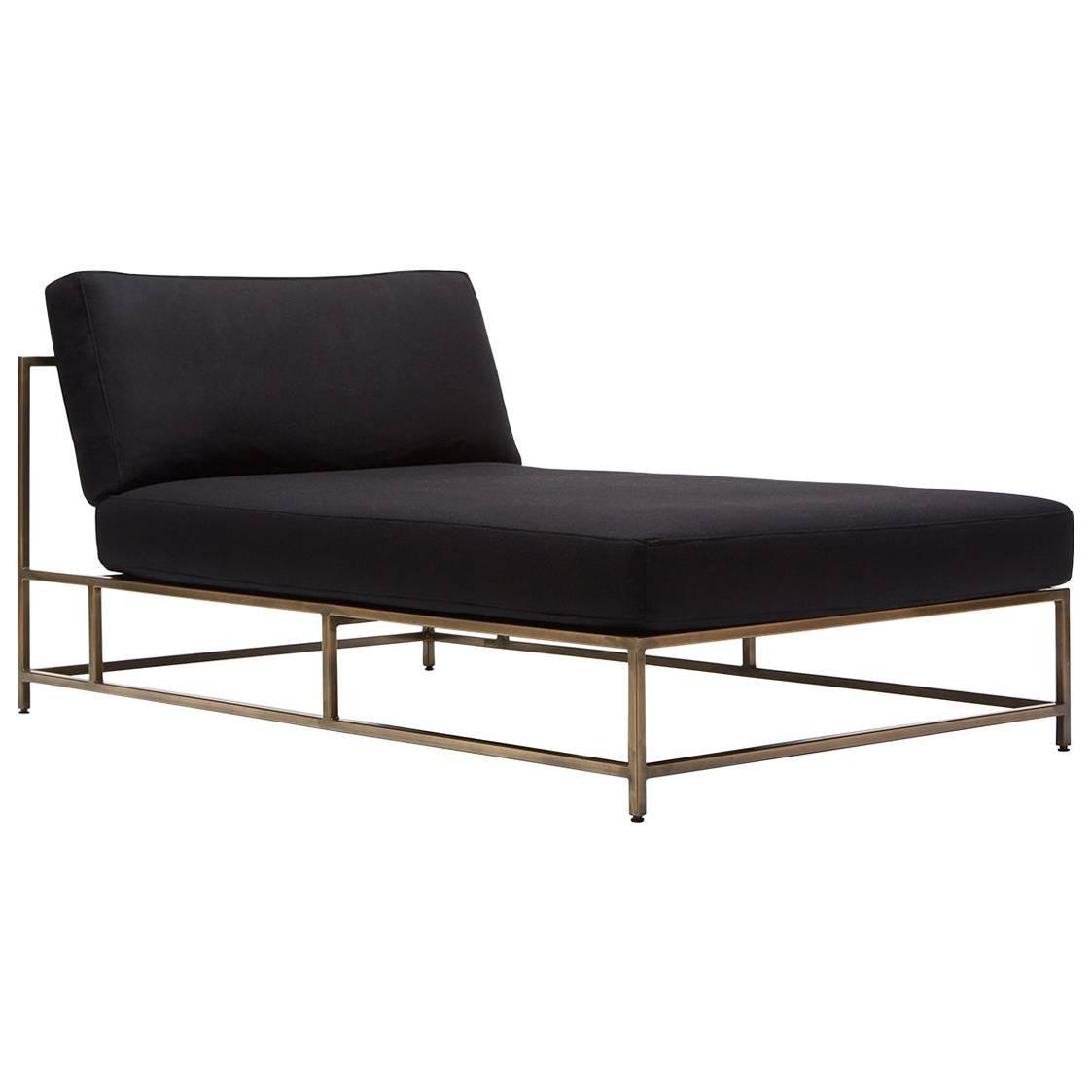 Black Wool And Antique Brass Chaise Lounge For Sale At 1stdibs