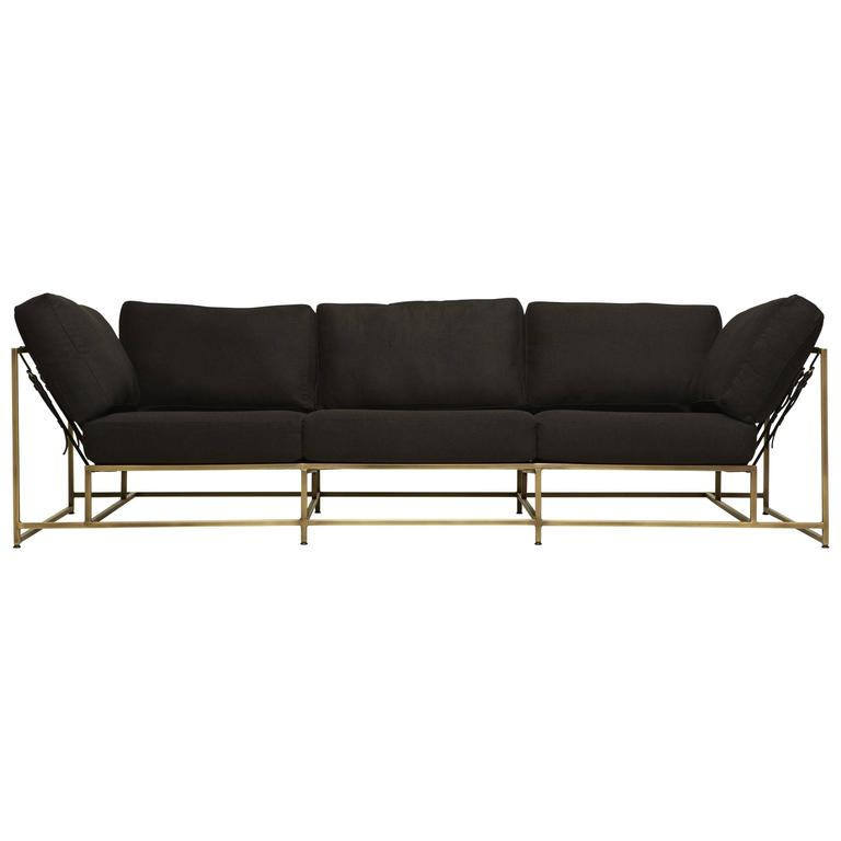 Black Wool and Antique Brass Sofa For Sale