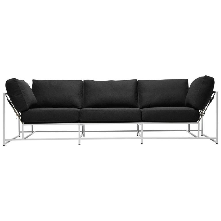 Black Wool and White Sofa For Sale