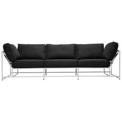 Black Wool and White Sofa