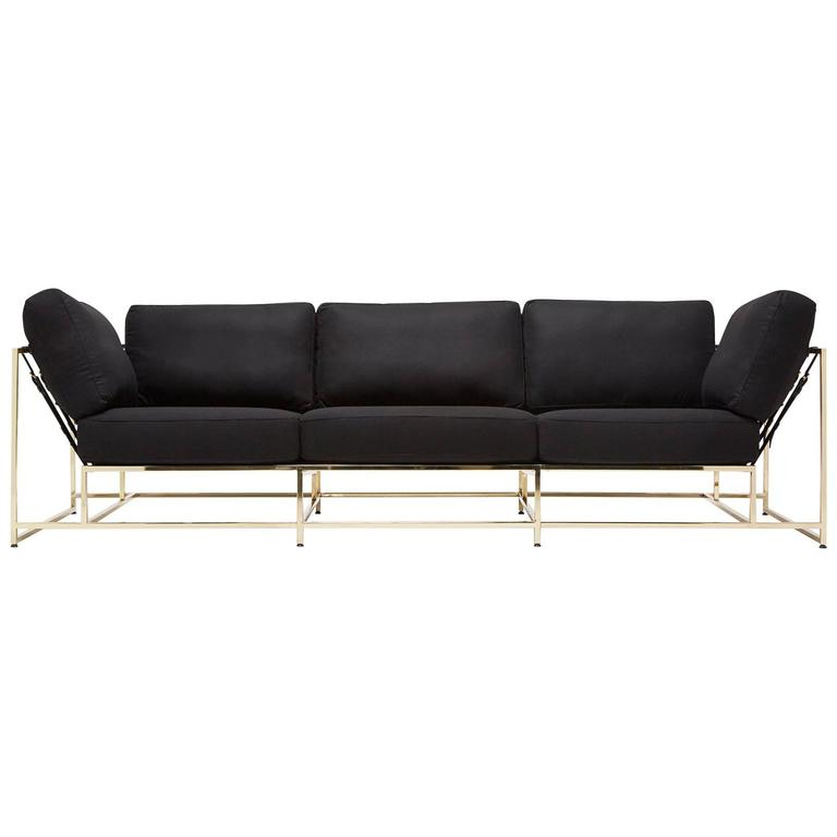 Black Wool and Polished Brass Sofa For Sale