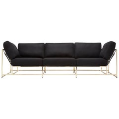 Black Wool and Polished Brass Sofa